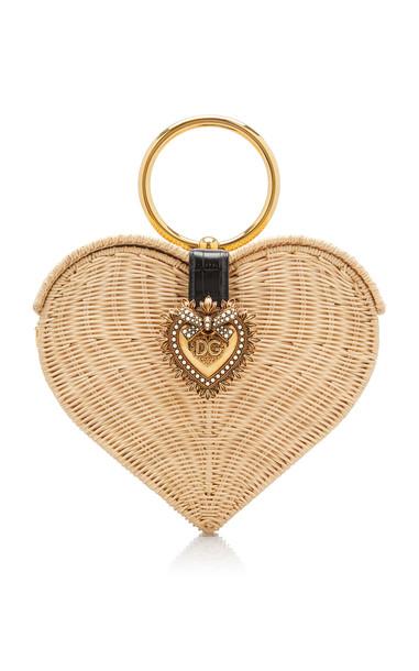 Dolce & Gabbana Devotion Crystal Heart Wicker Top Handle Bag in neutral