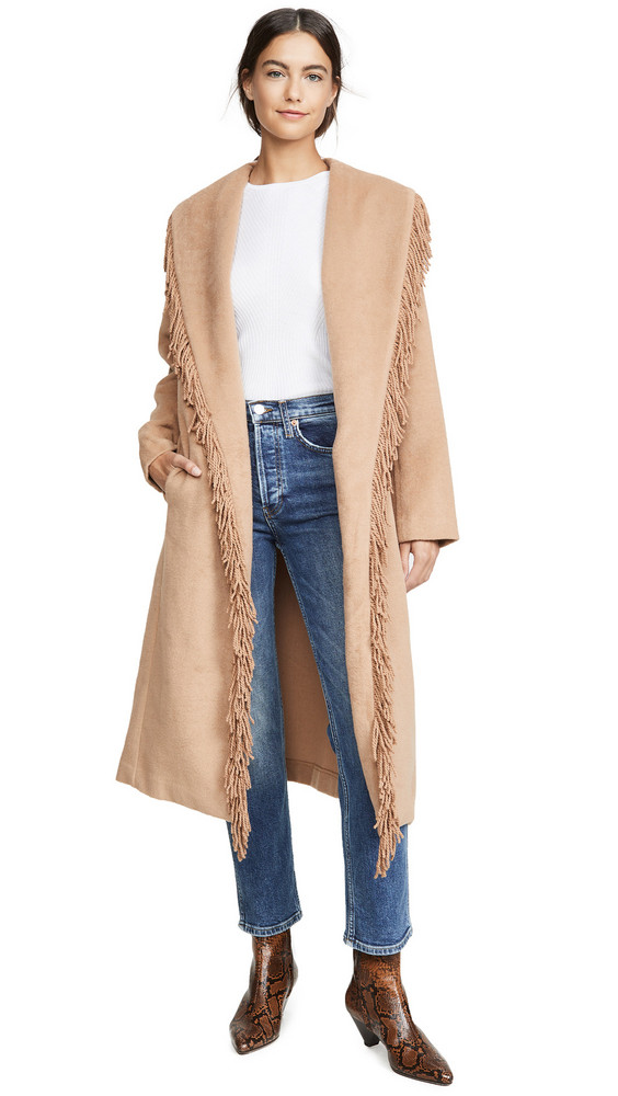 Line & Dot Linda Fringe Coat in camel