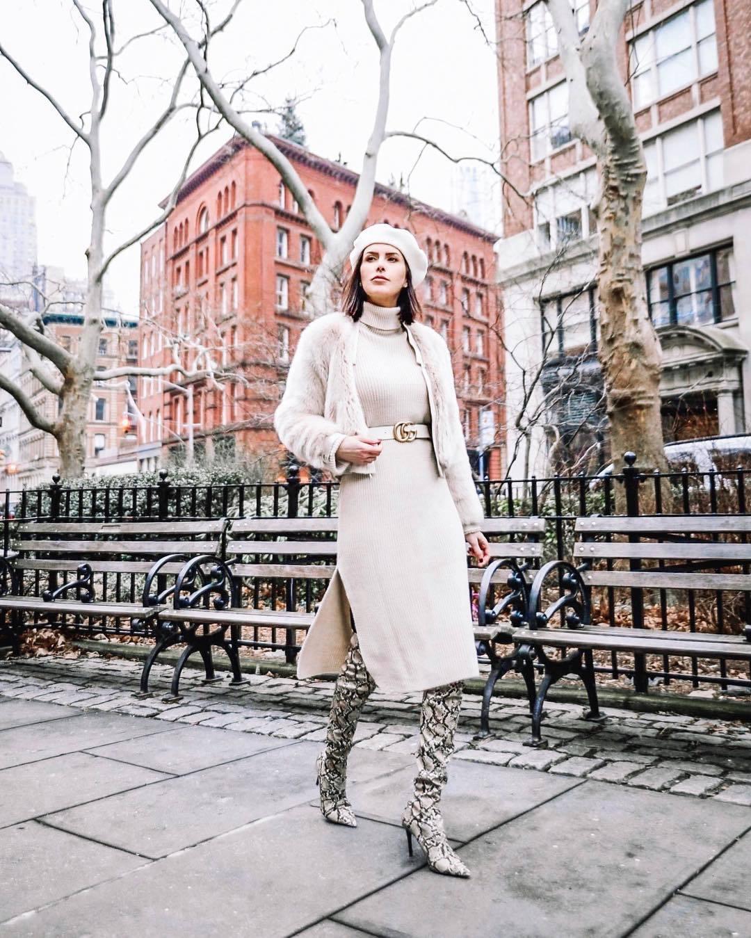 dress turtleneck dress midi dress knitted dress over the knee boots snake print heel boots gucci belt teddy jacket beret