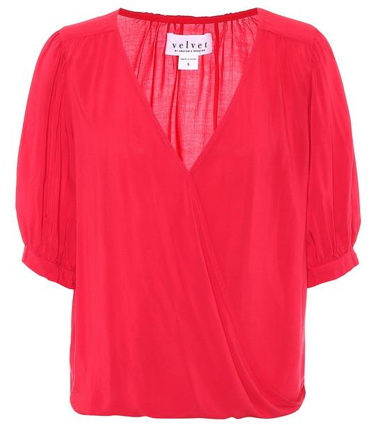 Velvet Willow blouse in red