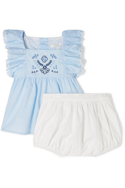 Chloé Kids - Months 1 - 18 Ruffle-trimmed Embroidered Cotton-voile Top And Shorts Set in blue