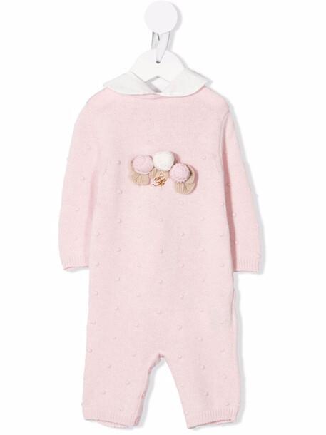 Miss Blumarine appliqué-detail knitted romper - Pink