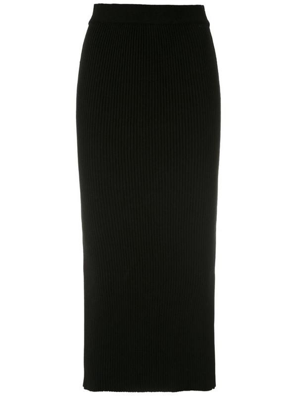 Martha Medeiros ribbed knit midi skirt in black