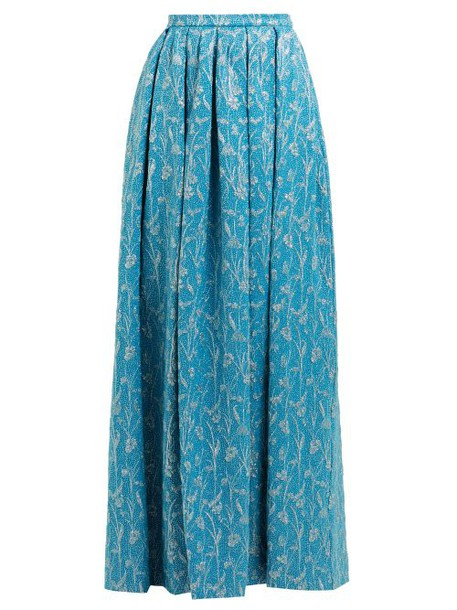 Rochas - High Rise Floral Brocade Maxi Skirt - Womens - Blue Multi