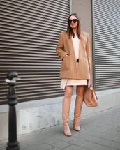 shoes,knee high boots,nude,maxi bag,camel coat,white dress,mini dress,belted dress