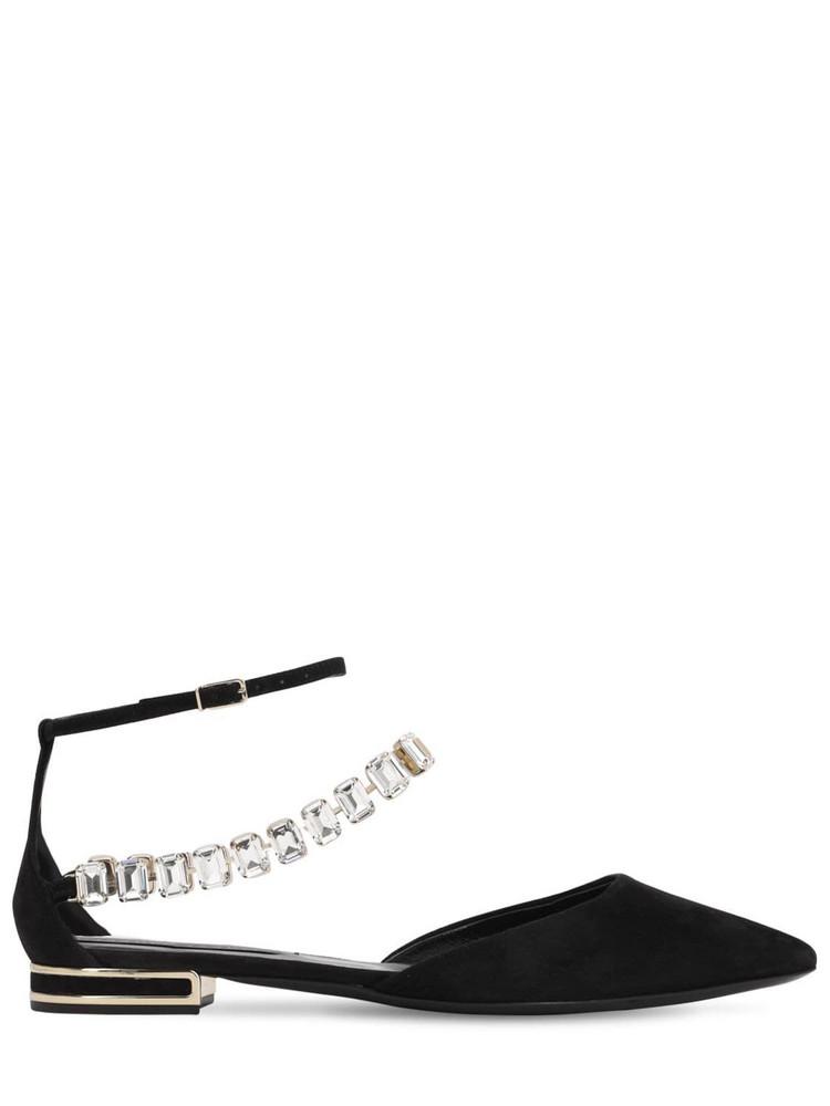 CASADEI 10mm Embellished Suede Flats in black
