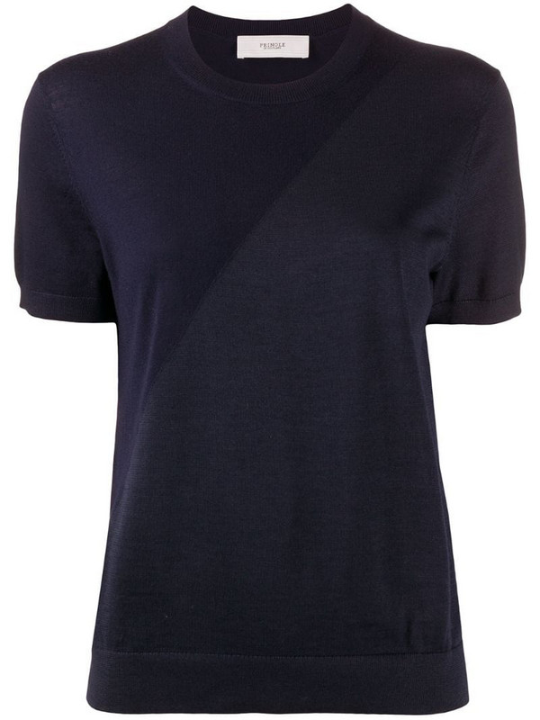 Pringle of Scotland two-tone short sleeved T-shirt in blue