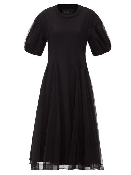 Simone Rocha - Tulle-overlay Puff-sleeve Jersey Dress - Womens - Black