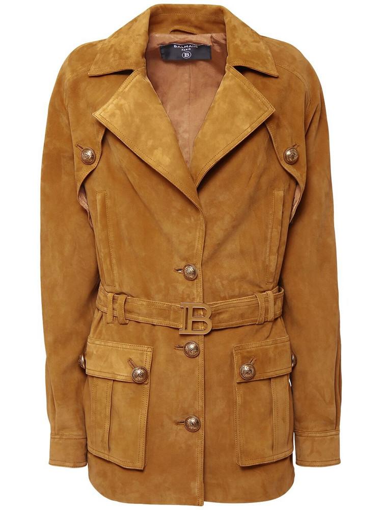 BALMAIN Suede Long Jacket W/ Belt in beige