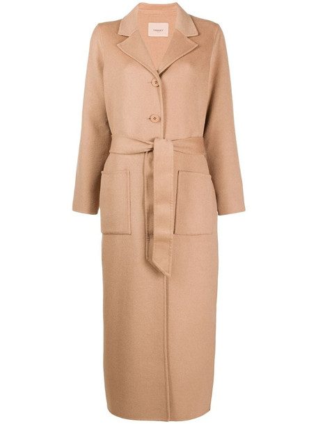 Twin-Set long single-breasted coat in brown
