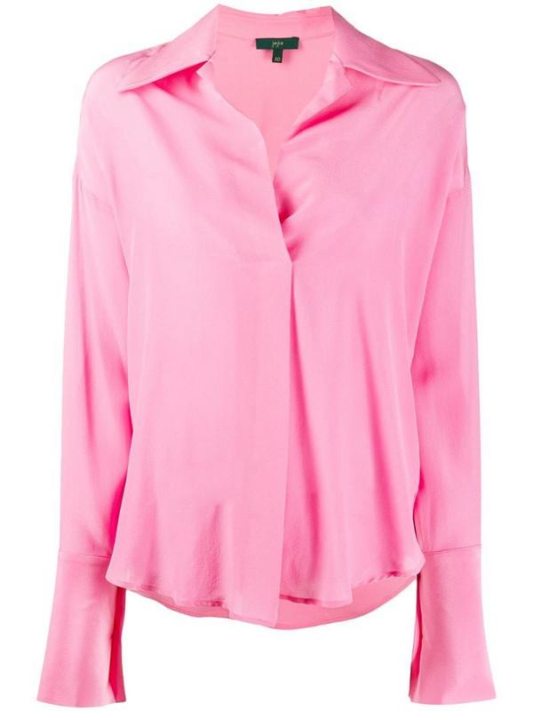 Jejia cuban-collar silk shirt in pink