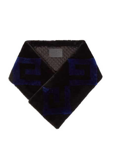 Givenchy - Logo Shearling Scarf - Womens - Blue