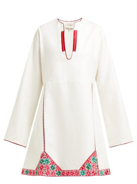 Zeus + Dione Zeus + Dione - Skopelos Embroidered Silk Mini Dress - Womens - White