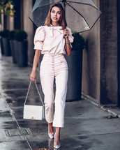 bag,white bag,shoulder bag,pumps,high waisted pants,white pants,white blouse,puffed sleeves,umbrella