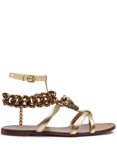 Dolce & Gabbana chain link-detailed leather sandals in gold