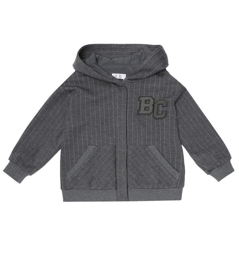 Brunello Cucinelli Kids Pinstriped wool-blend track jacket in grey