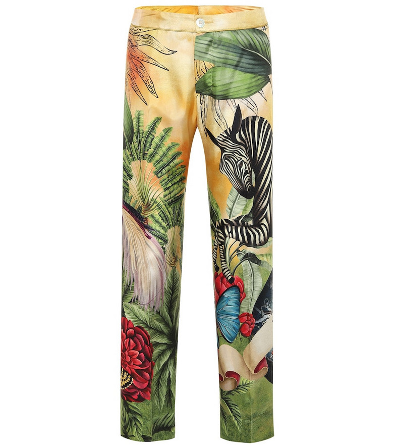 F.R.S For Restless Sleepers Cleo printed silk pajama pants in yellow