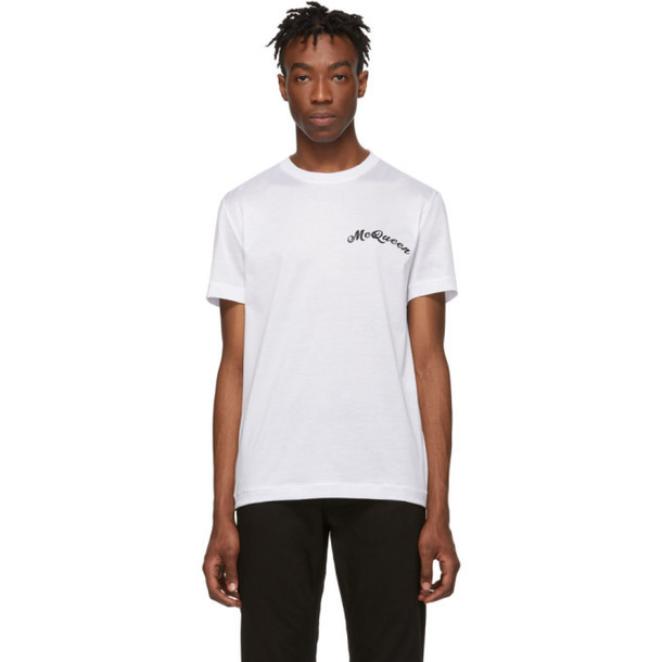 Alexander McQueen White Embroidered Logo T-Shirt