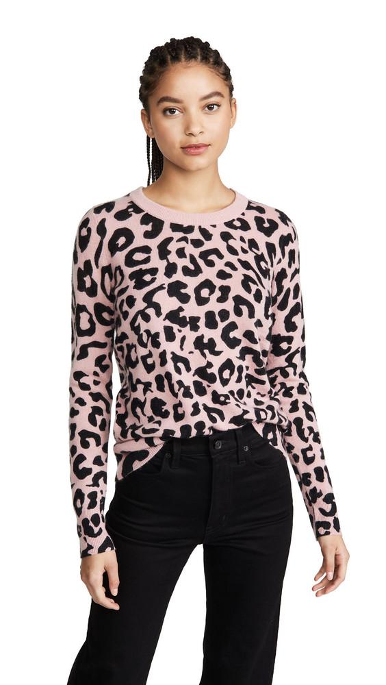 White + Warren White + Warren Leopard Essential Cashmere Sweater