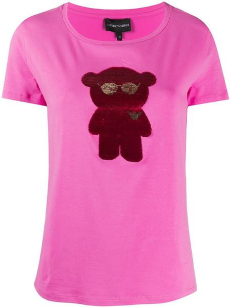 Emporio Armani bear-appliquéd T-shirt in pink
