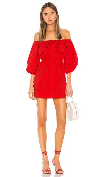 Camila Coelho Archer Off Shoulder Dress in Red
