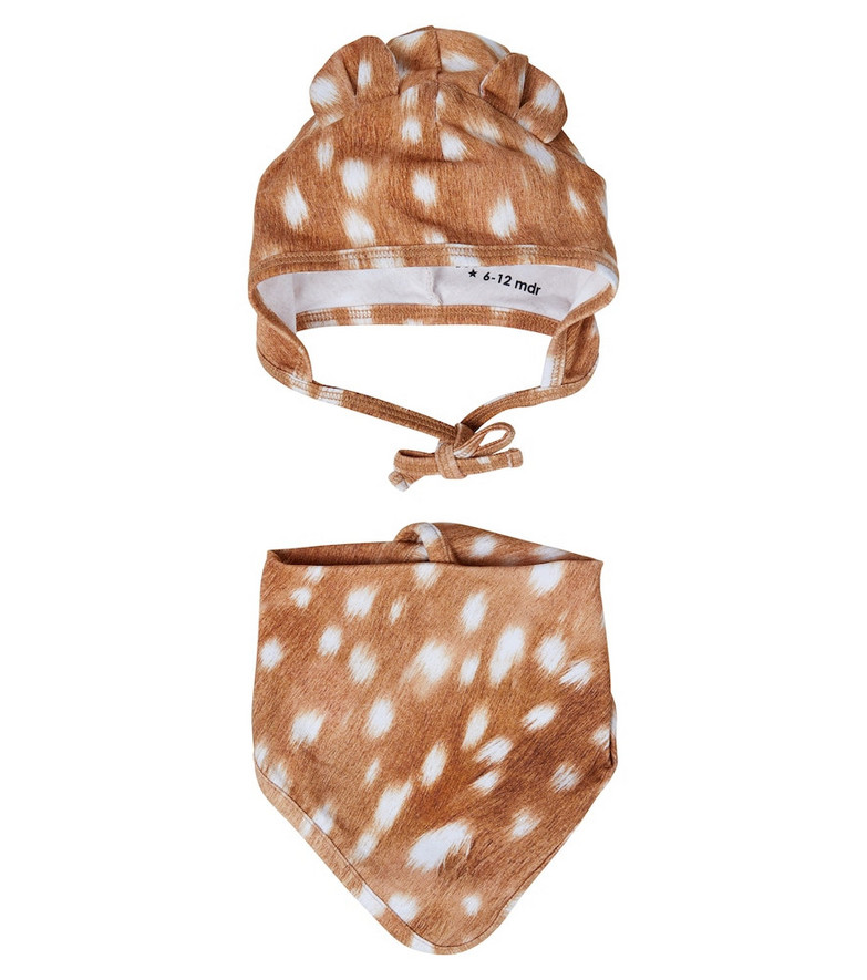 Molo Baby fawn-print stretch-cotton hat and bib set in brown