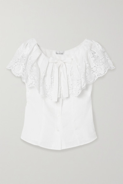 Miguelina - Esther Crochet-trimmed Embroidered Linen Top - White