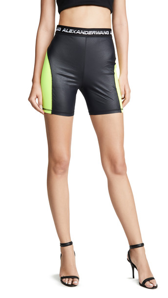 alexanderwang.t Wash & Go Satin Jersey Biker Shorts in black