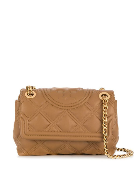 Tory Burch branded quilted crossbody bag in brown