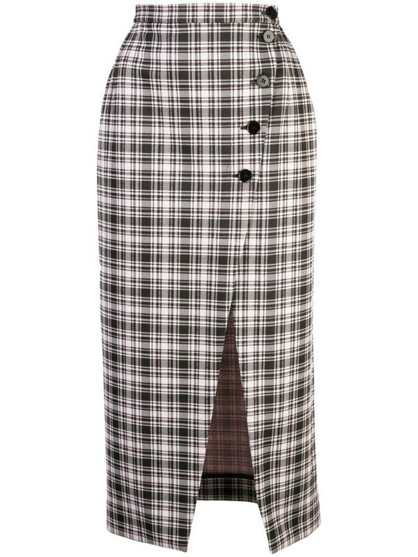 Alexa Chung high-waist plaid skirt