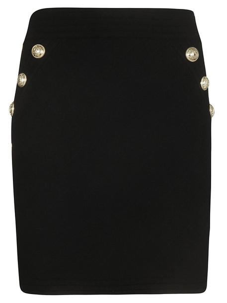 Balmain Button Detail Skirt in noir