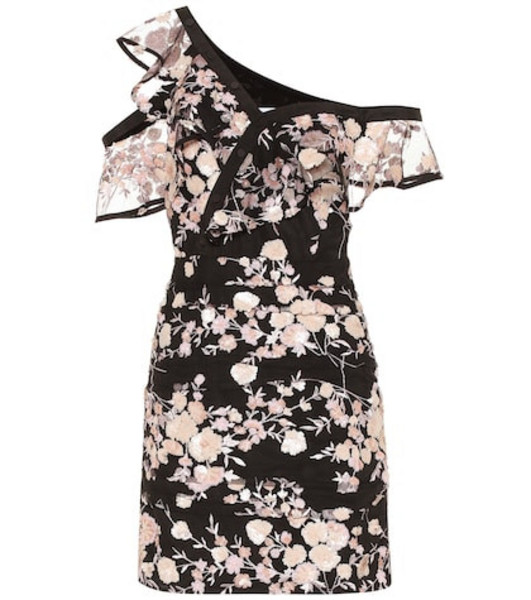 Self-Portrait Floral-embellished minidress in black