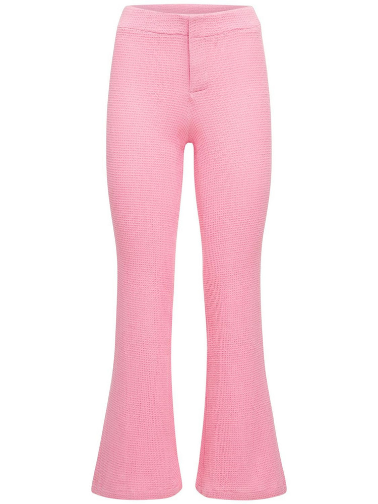 GIMAGUAS Comporta High Waist Cotton Flared Pants in pink