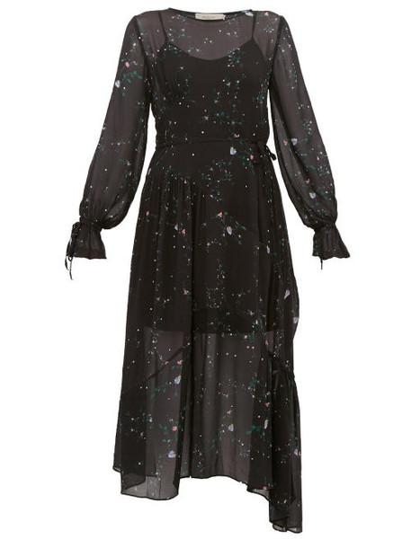 Preen Line - Rosalba Floral Print Georgette Midi Dress - Womens - Black Multi