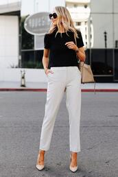 fashionjackson,blogger,t-shirt,pants,shoes,bag,sunglasses,summer outfits,white pants,high heel pumps,straight pants,pumps,black t-shirt