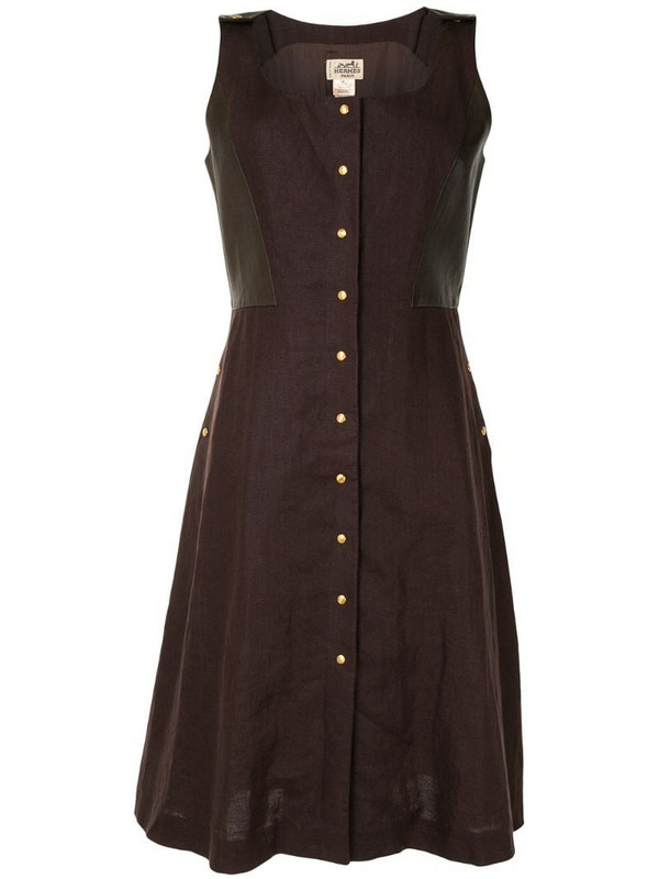 Hermès pre-owned square neck sleeveless dress in brown