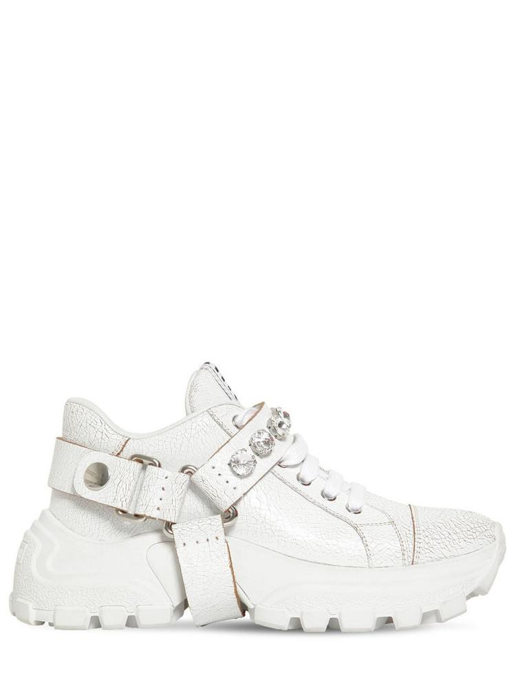MIU MIU 75mm Crackled Leather Sneakers in white