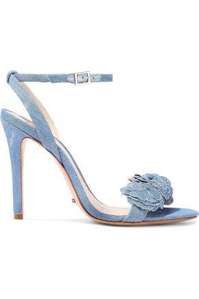 Schutz Woman Aida Floral-appliquéd Denim Sandals Mid Denim Size 7