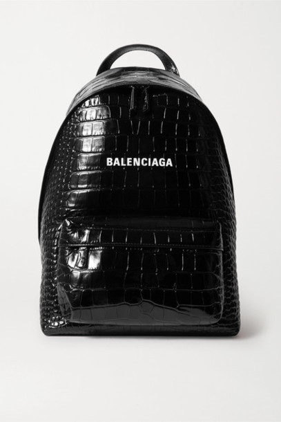 Balenciaga - Everyday Croc-effect Leather Backpack - Black
