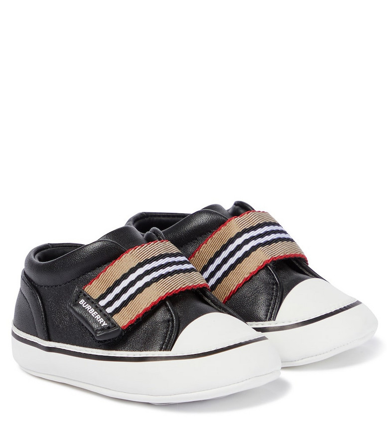 Burberry Kids Vintage Check leather sneakers in black