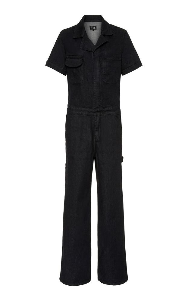 Eve Denim Julia Denim Wide-Leg Jumpsuit Size: XS in black