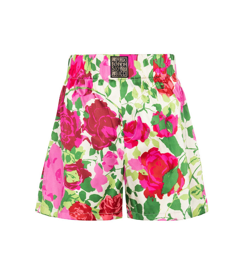 Gucci x Ken Scott floral stretch-silk shorts in pink