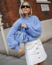 sweater,blue sweater,mohair,oversized sweater,emilio pucci,white skirt,mini skirt,high waisted skirt,blue bag,shoulder bag