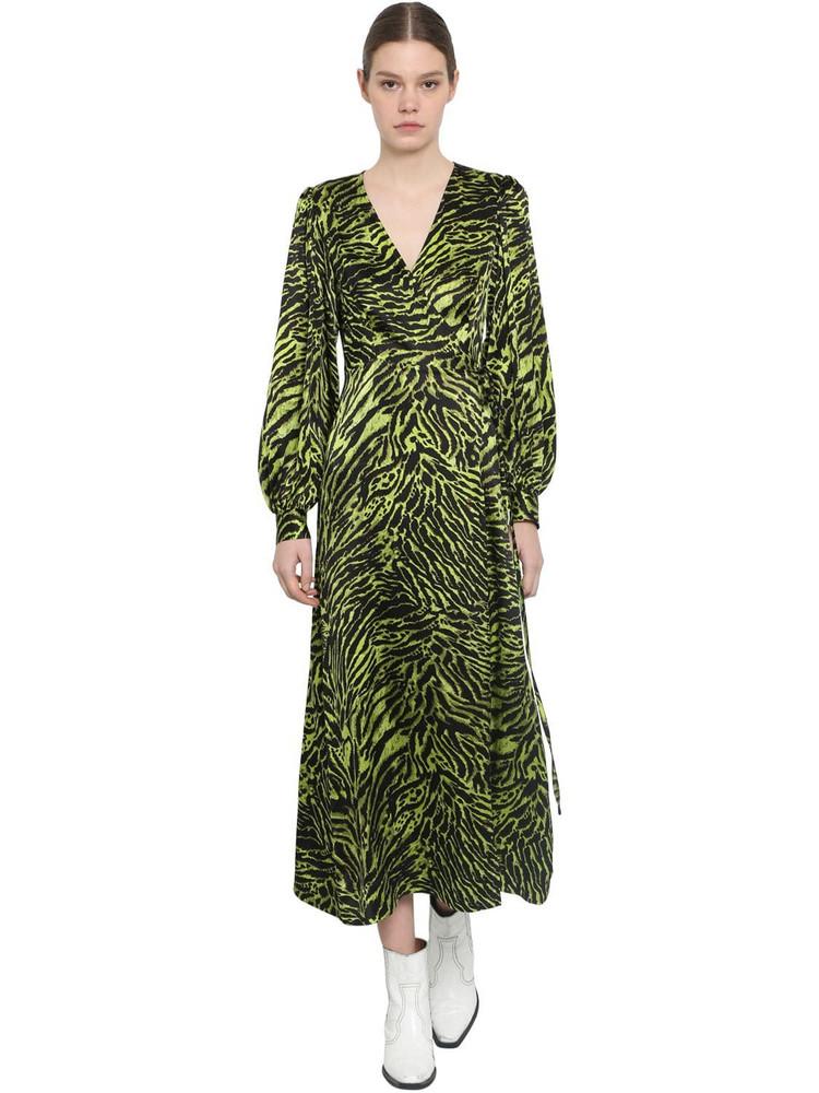 GANNI Wrapped Silk Satin Midi Dress in green