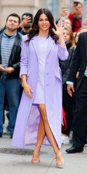 dress,mini dress,lilac,coat,jenna dewan,celebrity,sandals,monochrome outfit