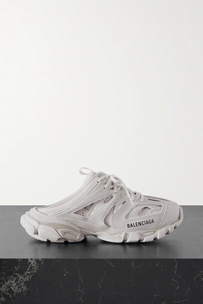 BALENCIAGA - Track Mule Logo-print Mesh And Rubber Sneakers - Off-white