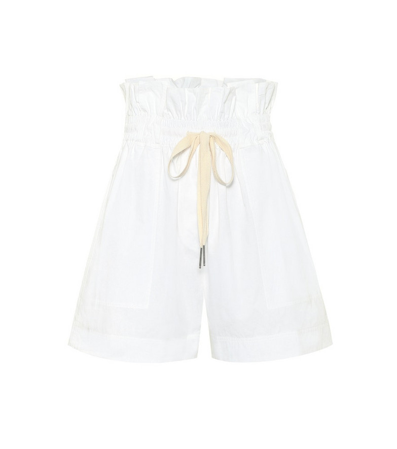 Lee Mathews High-rise cotton paper bag shorts in white