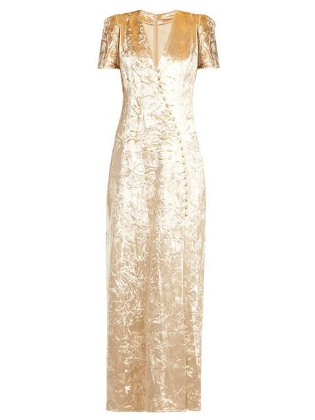 Brock Collection - Doreen Crushed Velvet Dress - Womens - Cream