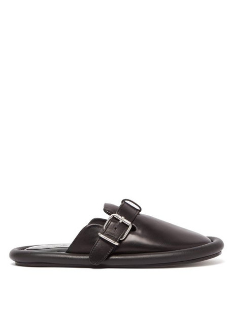 Mm6 Maison Margiela - Padded Leather Backless Loafers - Womens - Black
