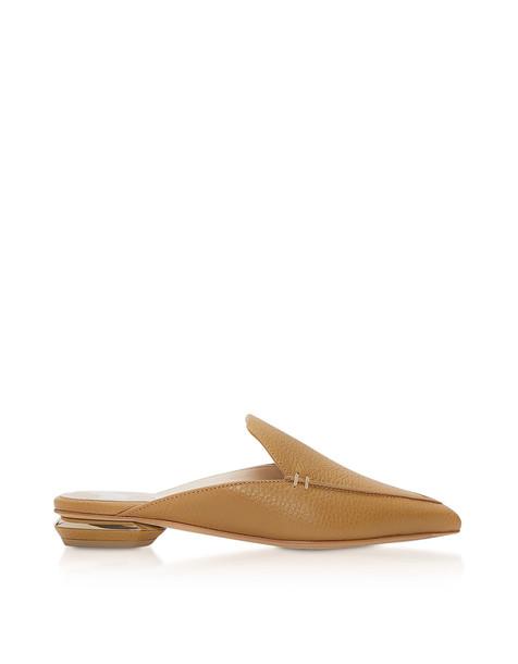 Nicholas Kirkwood Tan Grainy Leather 18mm Beya Flat Mules